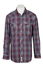 Rafter C Men's Red, White and Blue Faded Plaid Long Sleeve Western Shirt