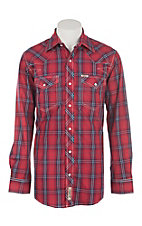 Rafter C Cowboy Collection Red & Navy Plaid L/S Western Snap Shirt