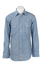 Rafter C Cowboy Collection Men's Blue, White & Khaki Micro Print Long Sleeve Western Snap Shirt