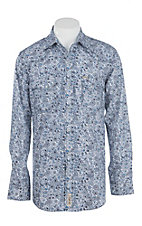 Rafter C Cowboy Collection Men's Blue and White Paisley L/S Western Snap Shirt