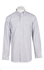 Rafter C Cowboy Collection Men's Blue Grey Mini Print L/S Western Shirt