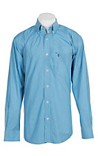 Rafter C Men's Light Blue Micro Print L/S Western Shirt