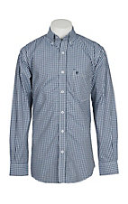 Rafter C Men's Light Blue, Navy and White Gingham L/S Western Shirt