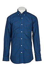 Rafter C Men's Blue & Black Grid Plaid L/S Western Shirt