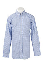 Rafter C White & Light Blue Grid Print L/S Western Shirt