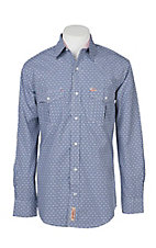 Rafter C Cowboy Collection Men's Blue and White Gingham Dobby Print L/S Western Snap Shirt