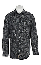 Rafter C Cowboy Collection Men's Black and Grey Paisley L/S Western Snap Shirt