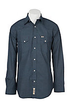 Rafter C Cowboy Collection Men's Navy Geo Print L/S Western Snap Shirt