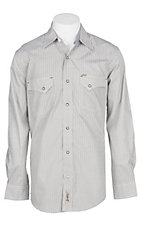 Rafter C Cowboy Collection Men's Khaki w/ Brown and Black Mini Geo Print L/S Western Snap Shirt