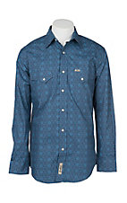 Rafter C Cowboy Collection Men's Blue Medallion Print L/S Western Snap Shirt
