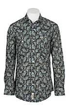 Rafter C Cowboy Collection Men's Black w/ Blue, Yellow and White Paisley Print L/S Western Snap Shirt