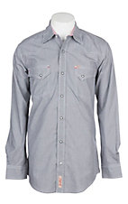 Rafter C Cowboy Collection Men's Black Micro Gingham Print L/S Western Snap Shirt