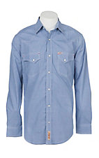 Rafter C Cowboy Collection Men's Blue Micro Gingham Print L/S Western Snap Shirt
