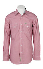 Rafter C Cowboy Collection Men's Red Micro Gingham Print L/S Western Snap Shirt