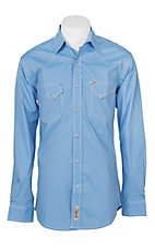 Rafter C Cowboy Collection Men's Light Blue Micro Stripe Print L/S Western Snap Shirt