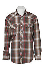 Rafter C Cowboy Collection Men's Brown and Red Plaid L/S Western Snap Shirt