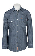 Rafter C Cowboy Collection Men's Navy W/ White Floral Print L/S Western Snap Shirt