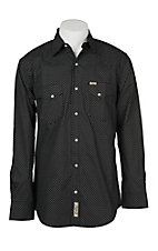 Rafter C Cowboy Collection Men's Black Micro Paisley Print L/S Western Snap Shirt