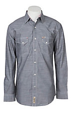 Rafter C Cowboy Collection Men's Dark Grey Chambray L/S Western Snap Shirt