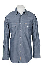Rafter C Cowboy Collection Men's Chambray Inky Indigo L/S Western Snap Shirt