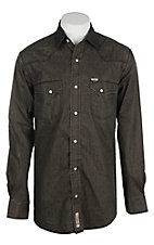 Rafter C Cowboy Collection Men's Distressed Black and Brown Mini Paisley Print L/S Western Snap Shirt