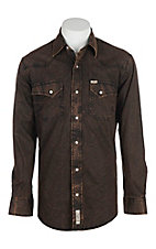 Rafter C Cowboy Collection Men's Solid Black and Brown Acid Wash L/S Western Snap Shirt