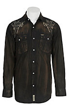 Rafter C Cowboy Collection Men's Black Distressed and Embroidered L/S Western Snap Shirt