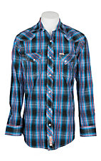 Rafter C Cowboy Collection Men's Blue, Red and Black Dobby Plaid Print L/S Western Snap Shirt