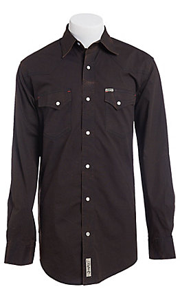 Rafter C ProFlex Stretch Men's Black and Brown Acid Wash Long Sleeve Western Shirt - Big & Tall
