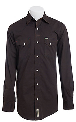 Rafter C ProFlex Stretch Men's Black and Brown Acid Wash Long Sleeve Western Shirt