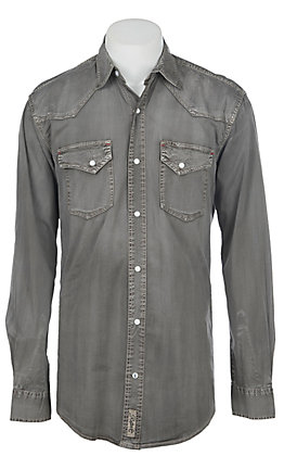 Rafter C ProFlex Stretch Men's Distress Grey Long Sleeves Western Shirt - Big & Tall
