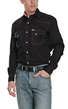 Rafter C ProFlex45 Men's Solid Black L/S Western Snap Shirt - Big & Tall