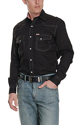 Rafter C ProFlex45 Men's Solid Black Long Sleeve Western Snap Shirt - Big & Tall