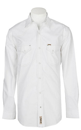 Rafter C ProFlex45 Men's Solid White L/S Western Snap Shirt