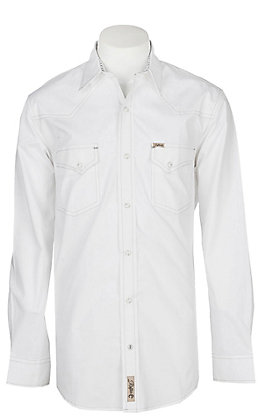 Rafter C ProFlex45 Men's Solid White Long Sleeve Western Snap Shirt - Big & Tall