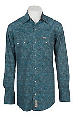 Rafter C ProFlex45 Men's Teal Paisley Print L/S Western Snap Shirt