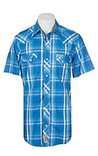 Rafter C Cowboy Collection Men's Blue Dobby Plaid S/S Western Snap Shirt