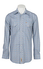 Rafter C Cowboy Collection Men's Blue and White Medallion Print L/S Western Snap Shirt