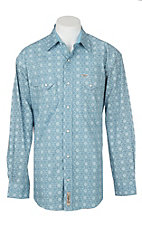 Rafter C ProFlex45 Men's Light Blue Medallion Print L/S Western Snap Shirt