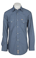 Rafter C Cowboy Collection Men's Blue Geo Print L/S Western Snap Shirt