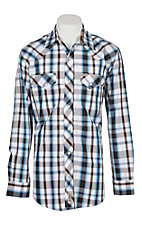 Rafter C Cowboy Collection Men's Blue Black and Brown Plaid  L/S Western Snap Shirt