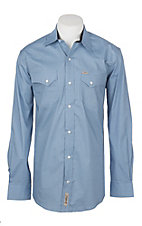 Rafter C Cowboy Collection Men's Blue and Navy Micro Diamond Print L/S Western Shirt