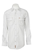 Rafter C Cowboy Collection Men's White and Grey Geo Print L/S Western Shirt