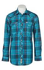 Rafter C Cowboy Collection Men's Turquoise and Blue Dobby Plaid L/S Western Shirt