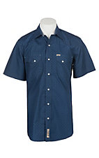 Rafter C Cowboy Collection Men's Navy Geo Print S/S Western Snap Shirt