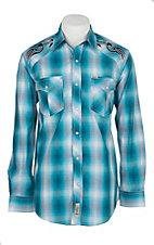 Rafter C Cowboy Collection Men's Turquoise Faded Plaid  L/S Western Snap Shirt