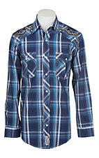 Rafter C Cowboy Collection Men's Navy and White Dobby Plaid with Embroidery on Yokes L/S Western Snap Shirt