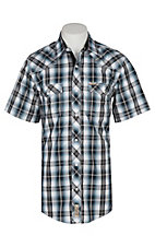 Rafter C Cowboy Collection Men's Navy Dobby Plaid S/S Western Snap Shirt