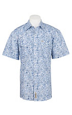 Rafter C Cowboy Collection Men's Blue and White S/S Western Snap Shirt