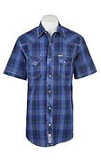 Rafter C Men's ProFlex Blue, White and Black Plaid Short Sleeve Western Shirt